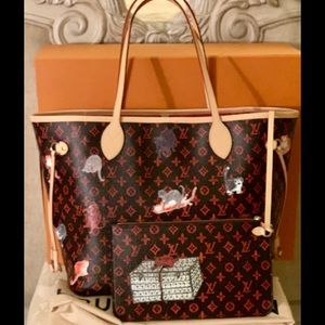 LV Neverfull Grace Coddington MM Catogram w/ Pouch